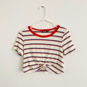 G Mini Striped Knotted Crop Top Large